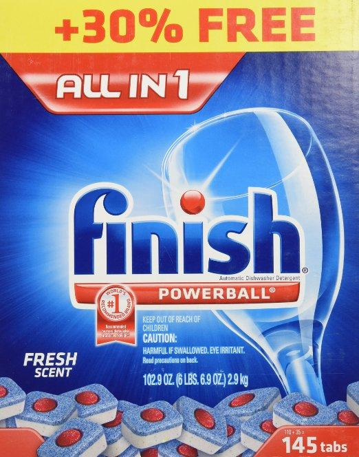 Finish Powerball Tabs Dishwasher Detergent, Fresh Scent, 290 Count