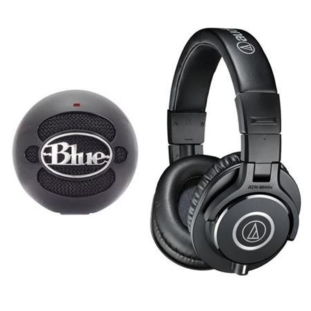 Audio-Technica ATH-M40x Pro Monitor Headphones, Black W/Blue Mic Snowball Mic