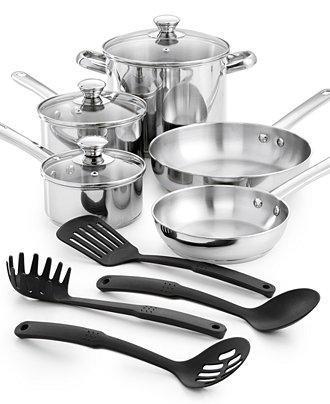 $29.99 Tools of the Trade Stainless Steel 12-Pc. Cookware Set