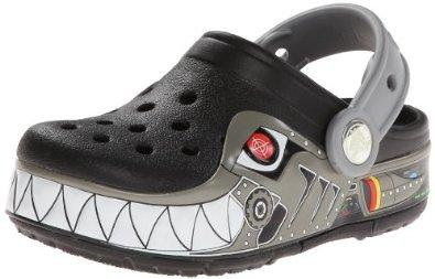 $24.94 Crocs Kids Robo Shark PS Light-up Clog, Black/Silver, 11 M US Little Kid
