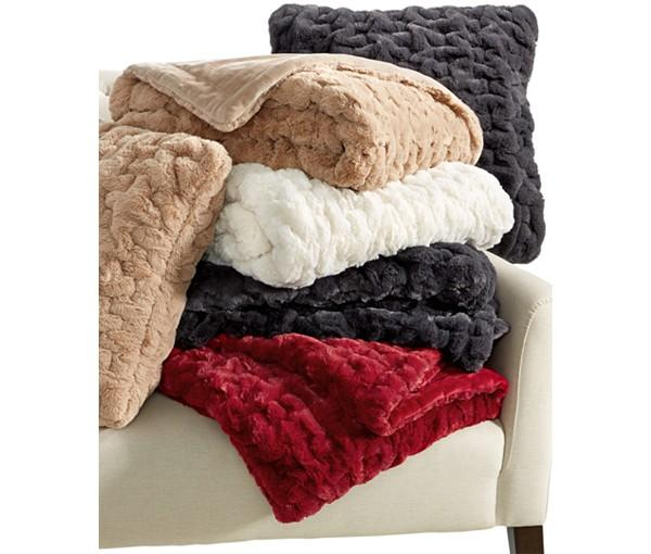$29.99 Martha Stewart Collection Quilted Faux Fur Throw
