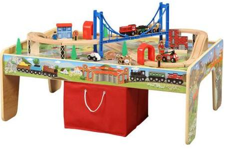 $37 Wooden 50-Piece Train Set with Small Table