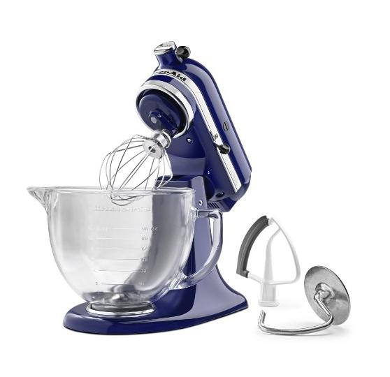 KitchenAid KSM105GBCBU 5-Qt. Tilt-Head Stand Mixer with Glass Bowl and Flex Edge Beater