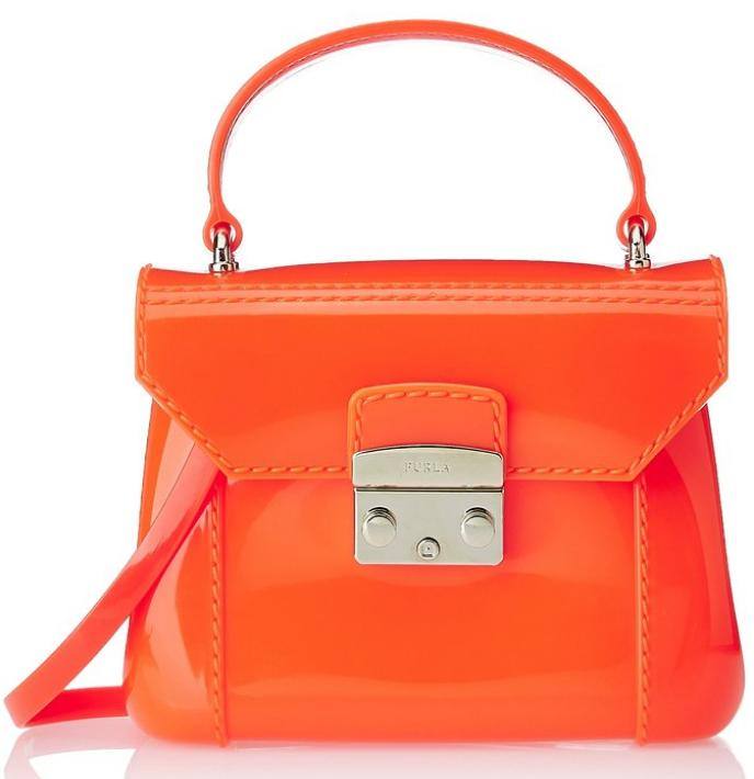 Furla Candy Bon Bon Mini Cross Body Bag, Neon/Bright Orange, One Size