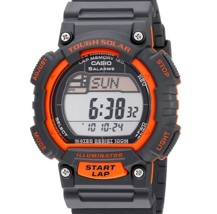 "$15 Casio Men's STL-S100H-4AVCF ""Tough Solar"" Stainless Steel Fitness Watch with Black Resin Band"
