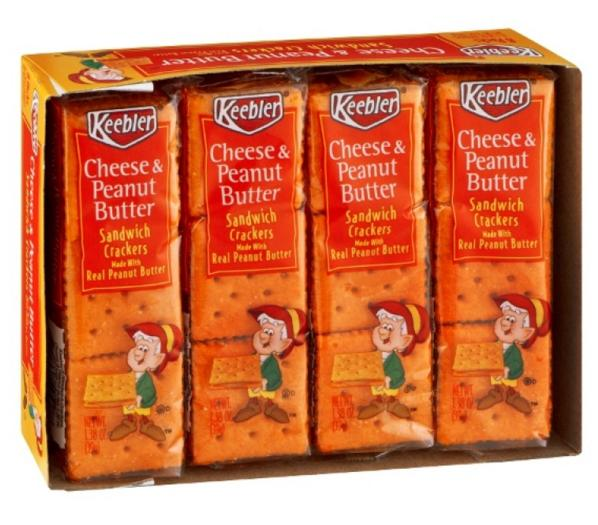 $9.32 Keebler Sandwich Crackers, Cheese & Peanut Butter, 1.38 oz. 8-Count Packages (Pack of 6)