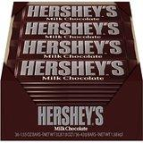 $6.36 Hershey's Milk Chocolate Bar, 1.55-Ounce Bars (Pack of 36)