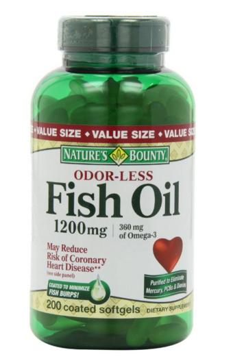 $11.01 Nature's Bounty Odorless Fish Oil 1200mg (value Size), 200-Count, Omega 3