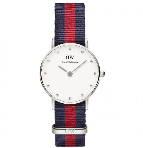 Daniel Wellington Classy Oxford White Dial Multi-Color Nylon Strap Ladies Watch