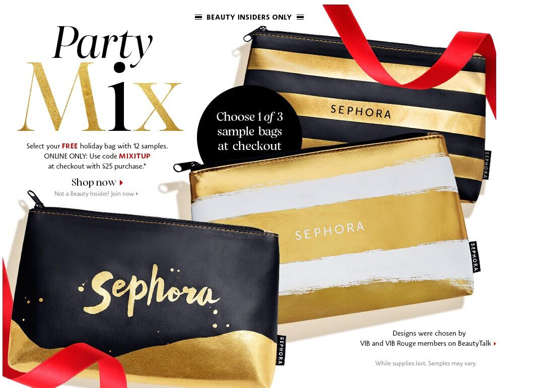 Free Holiday Bag with 12 Samples with Any $25 Purchase @ Sephora.com