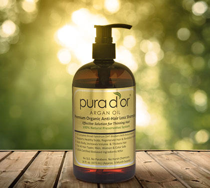 Pura d'or Premium Organic Anti-Hair-Loss Shampoo with Argan Oil