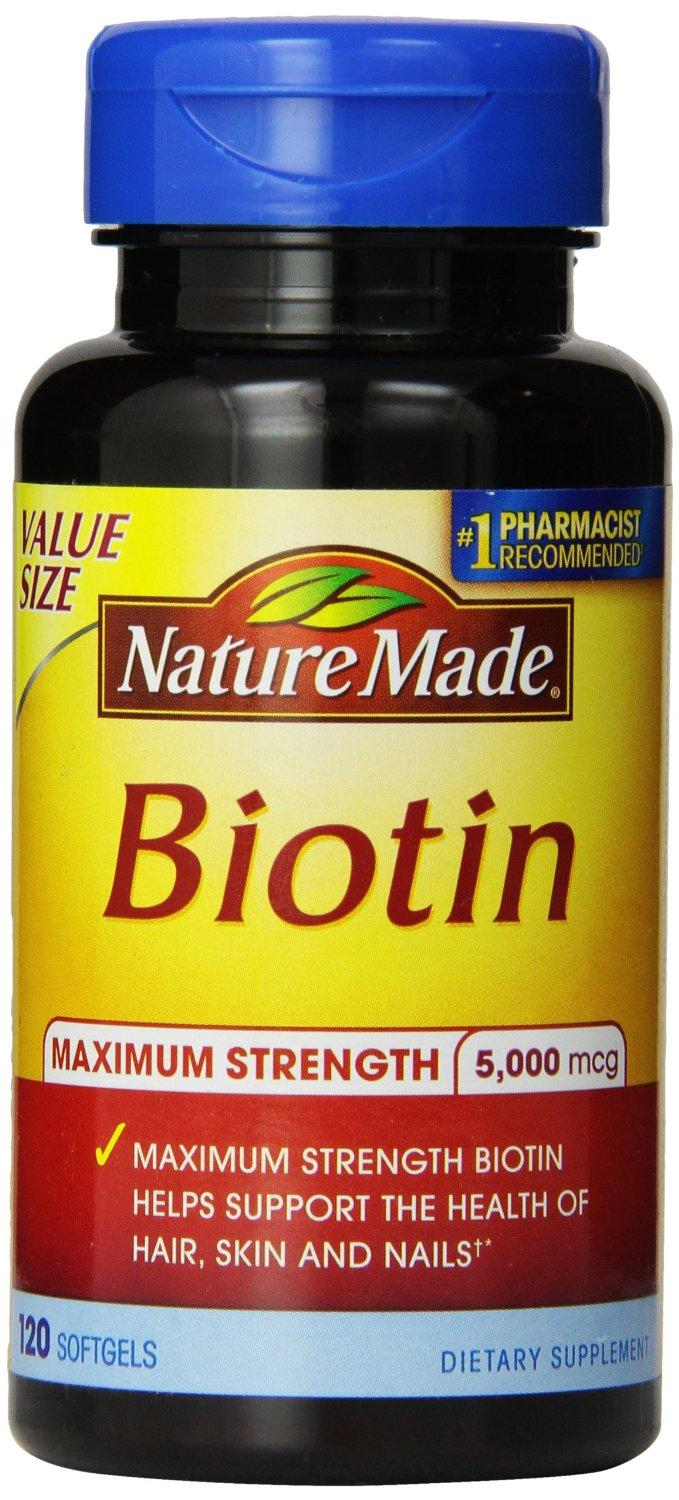 Nature Made Maximum Strength Biotin Value Size Liquid Softgel 5000 mcg, 120 Count
