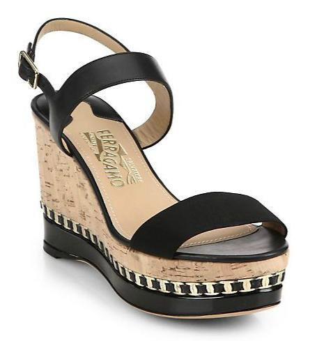 Salvatore Ferragamo Mollie Cork Wedge Sandals