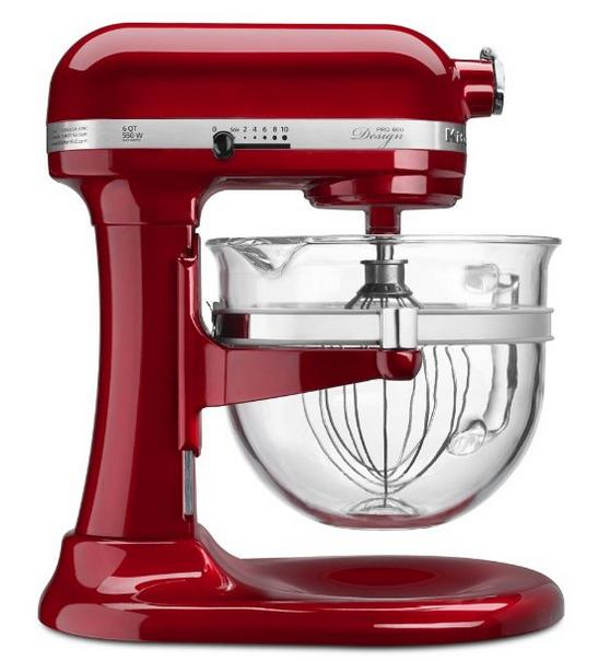 $249.99 KitchenAid KF26M22CA 6-Qt. Professional 600 Design Series with Glass Bowl - Candy Apple Red