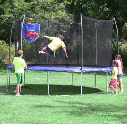 $249.99 Skywalker Trampolines 15-Feet Jump N' Dunk Trampoline with Safety Enclosure and Basketball Hoop