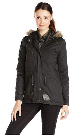 Jason Maxwell Women's Junior Fit Puffer Parka Military Jacket with Faux Fur Hood