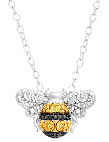 Petite Bumblebee Pendant with Diamonds