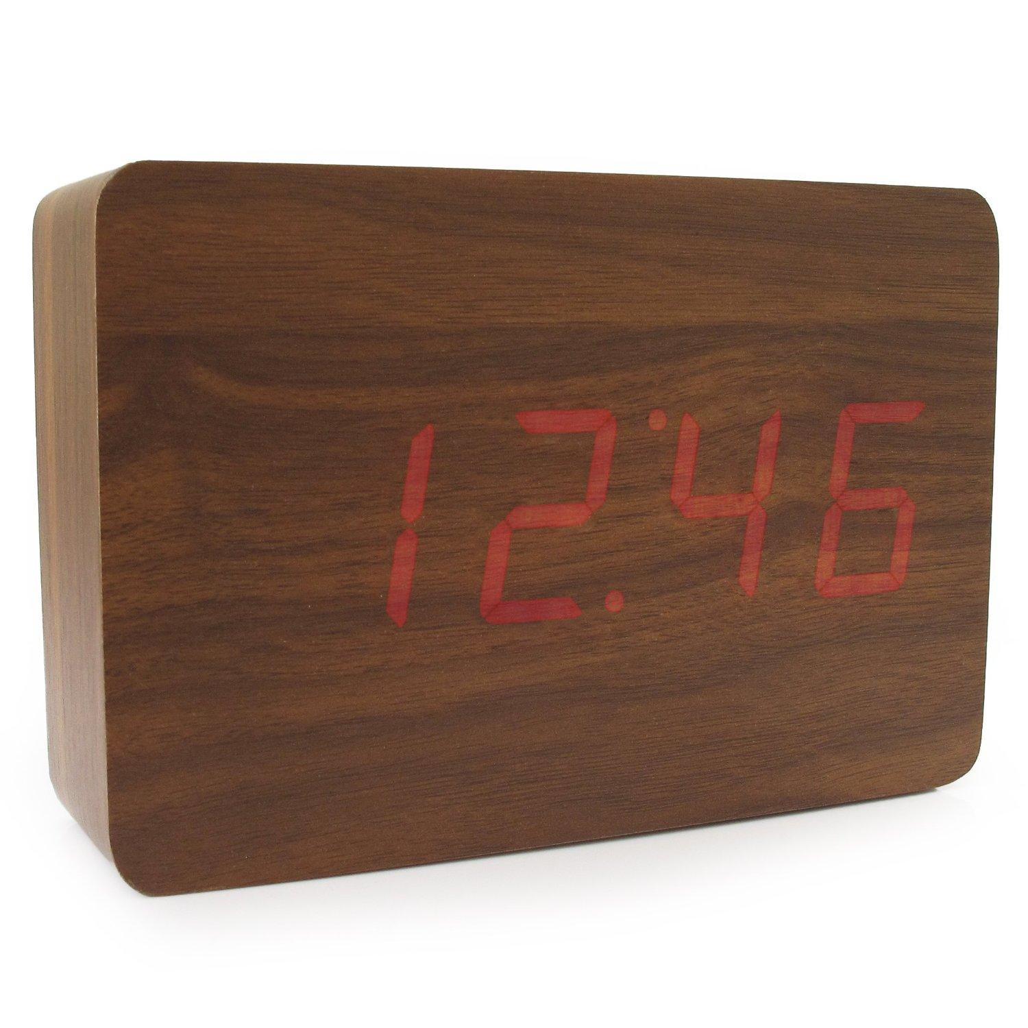 JCC Wooden Series Mini Rectangle Wood Grain Calendar Thermometer Activated Desk Super Soft Night Light LED Digital Alarm Clock
