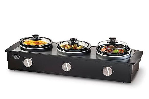 Nostalgia Electrics 1.5-Quart Triple Slow Cooker Buffet