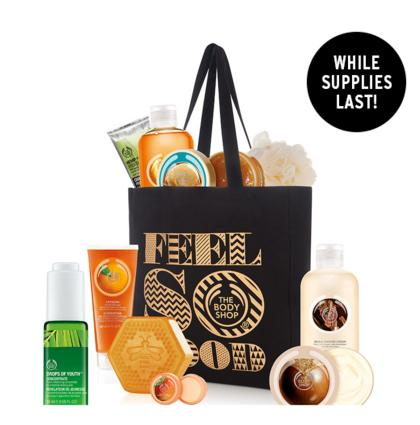 $35( $139 Value) Black Friday Tote Filled with $36 purchase @ The Body Shop