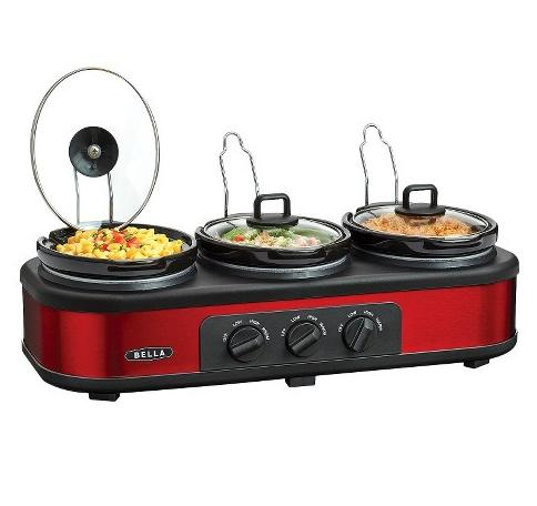 Bella 3 x 1.5QT Triple Slow Cooker, Red