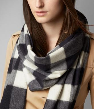 Burberry Classic Cashmere Giant Exploded Check Scarf On Sale @ Rue La La