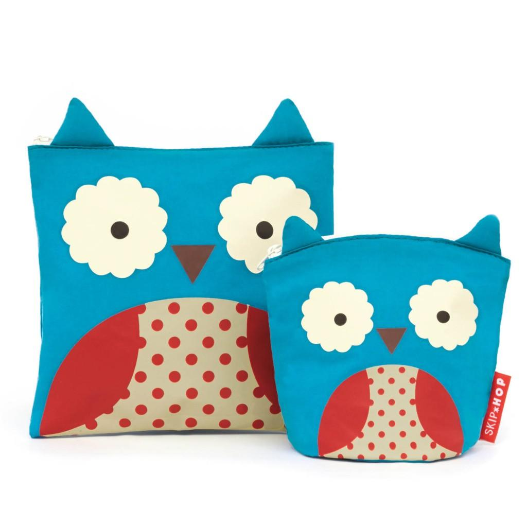 Skip Hop Zoo Reusable Sandwich and Snack Bag Set, Owl