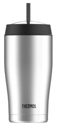 Thermos 22 ounce Vacuum Insulated Cold Cup with Straw, Stainless Steel