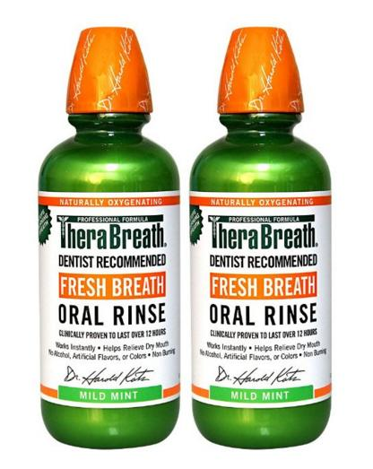 $13.28 TheraBreath Dentist Recommended Fresh Breath Oral Rinse - Mild Mint Flavor, 16 Ounce (Pack of 2)