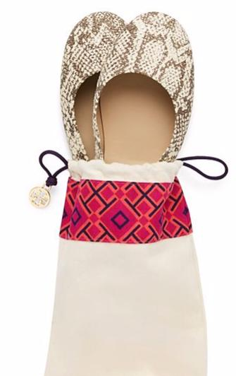 Tory Burch Logo Minnie Travel Ballet Flat