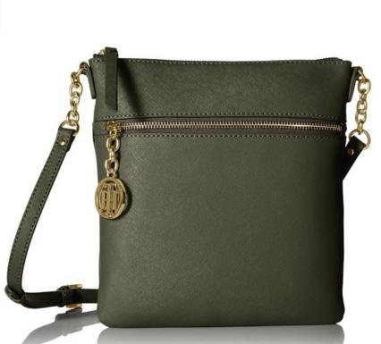 Tommy Hilfiger Sharon Text Leather Cross Body Bag, Metallic/Gold, One Size
