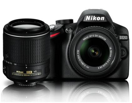 $396.95 Nikon D3200 24.2 MP DSLR Dual VR Lens Kit with 18-55mm and 55-200mm Lenses