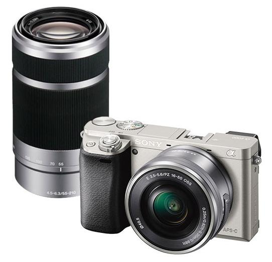 Sony Alpha A6000 24.3MP Mirrorless Camera - Silver with 16-50mm Power Zoom Lens and Extra 55-210mm Telephoto Lens