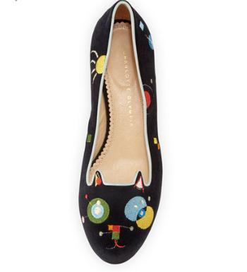 Up to 40% Off Charlotte Olympia Abstract Velvet Kitty Flat, Black