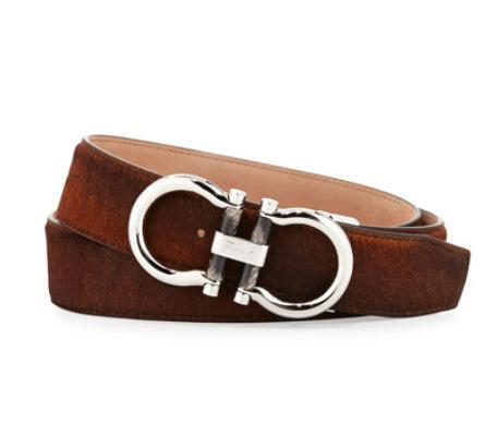 Salvatore Ferragamo	 Double-Gancini Calf Hair Belt, Brown @ Neiman Marcus