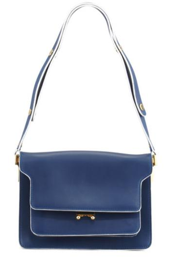 Marni Flap Top Triple-Gusset Shoulder Bag, Navy @ Neiman Marcus