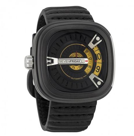 SEVENFRIDAY M Series Black and Gold Dial Black Rubber Automatic Men's Watch