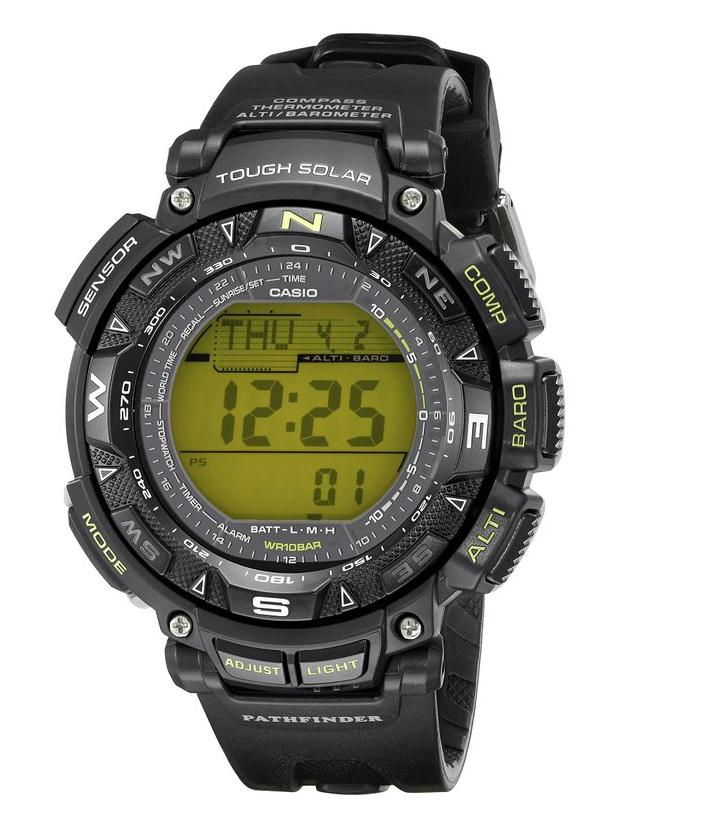 $99.99 Casio Men's PAG240-1BCR Pathfinder Triple-Sensor Stainless Steel Watch with Resin Band