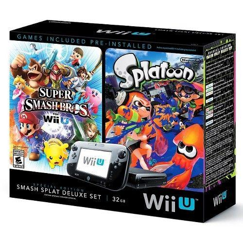 Nintendo Wii U Deluxe Set - Includes Splatoon and Super Smash Bros