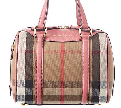 Burberry Alchester Small House Check & Leather Bowler On Sale @ Rue La La