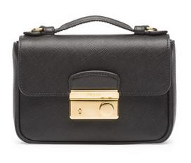 Prada Saffiano Mini Crossbody Clutch, Black