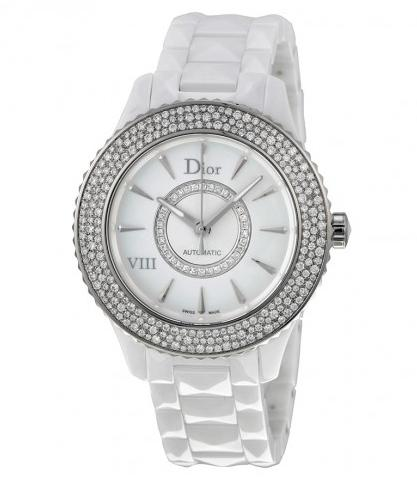 Extra $1500 off DIOR VIII Diamond Studded Automatic Mother Of Pearl Dial White Ceramic Ladies Watch