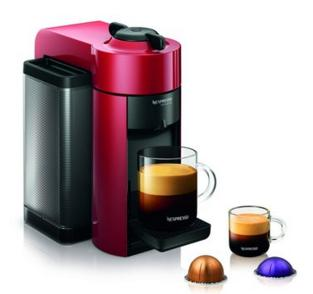 Nespresso Vertuoline Evolu GCC1 Espresso Maker/Coffee Maker Cherry Red