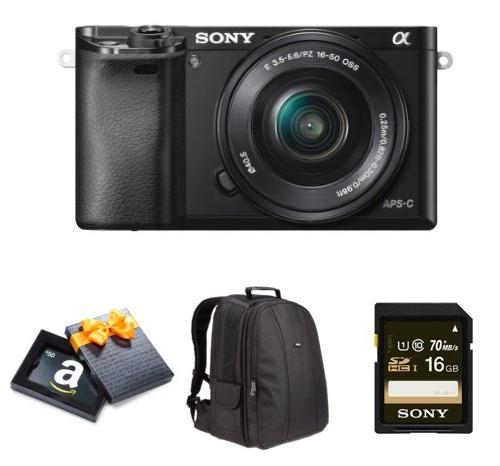$548.00 Sony Alpha a6000 Mirrorless Camera + 16-50mm Lens + $50 GC