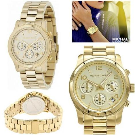 $129.99 Michael Kors Chronograph Gold-Tone Ladies Watch MK5055