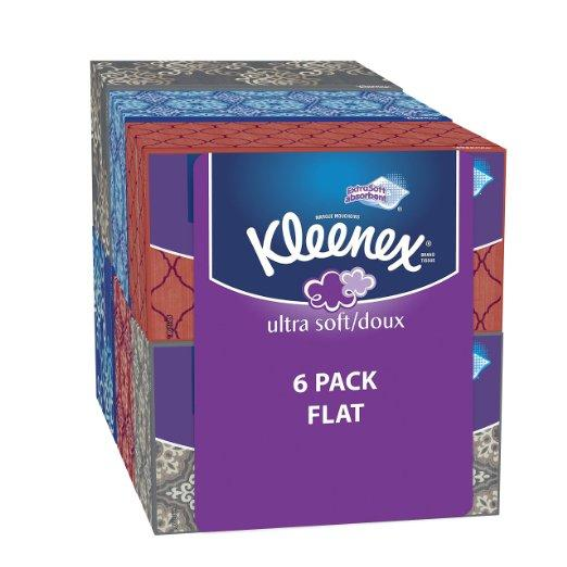 $9.37 Kleenex Ultra Soft & Strong Facial Tissues, Medium Count Flat, 170 ct, 6 Pack