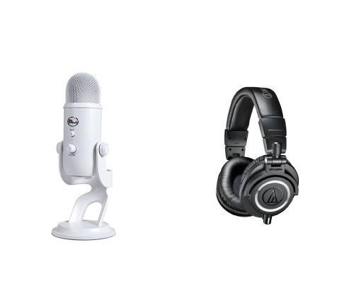 Blue Microphones Yeti USB Microphone Whiteout Bundle with Audio-Technica ATH-M50x Professional Studio Monitor Headphones
