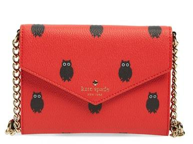 kate spade new york 'hawthorne lane owls monday' crossbody clutch