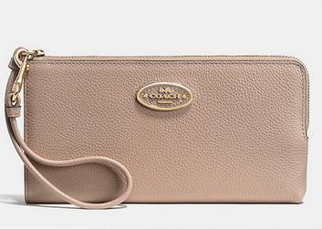 COACH L-ZIP WALLET IN REFINED GRAIN LEATHER