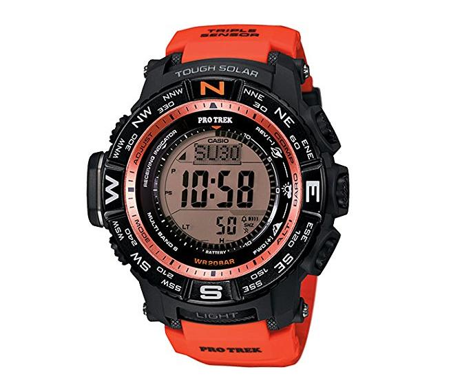 $149.99 Casio Men's PRW-3500Y-4CR Atomic Black Digital with Red Resin Band, Watch